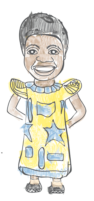 An illustration of a smiling African girl in yellow traditional dress with blue patterns on covering her calves.