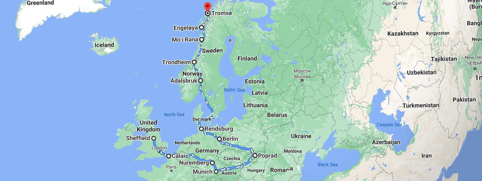 map of Europe  showing the route of Our Cultures moving to Norway