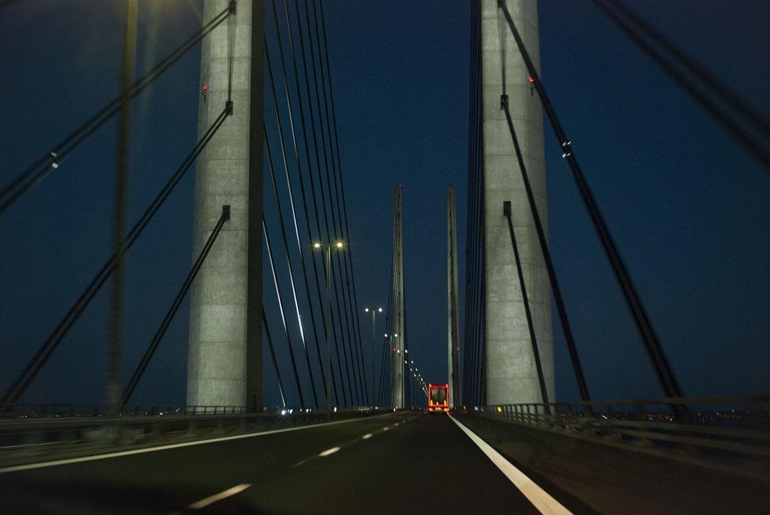 Øresund Bridge hanging bridge between Denmark and Sweden